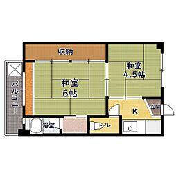 ビレッジハウス加田 I号棟 2階1DKの間取り