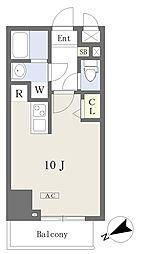 プライムコート本八幡 12階ワンルームの間取り