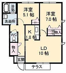 香川県高松市三名町の賃貸アパートの間取り
