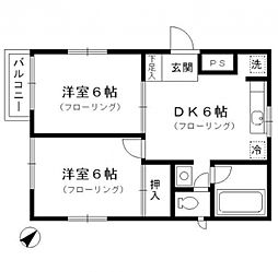 東京都板橋区上板橋3丁目の賃貸アパートの間取り