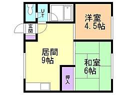 パールマンション 2階2LDKの間取り