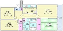 仙台市営南北線 五橋駅 徒歩13分の賃貸マンション 2階3LDKの間取り