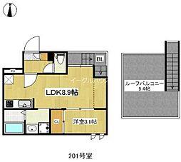 西鉄天神大牟田線 西鉄二日市駅 徒歩7分の賃貸アパート 2階1LDKの間取り