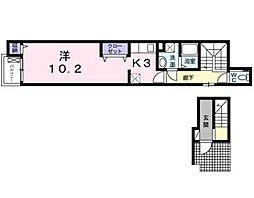 ラヴィベル 2階1Kの間取り