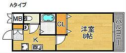 大阪府大阪市西成区聖天下2丁目の賃貸マンションの間取り