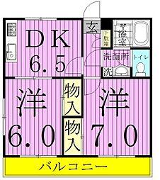 レクコーポ常盤平B[3階]の間取り