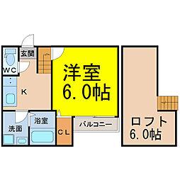 愛知県名古屋市中村区中村中町2の賃貸アパートの間取り