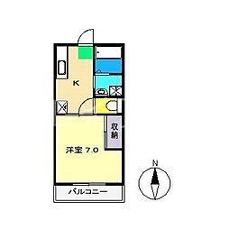ディライト弥生I[2階]の間取り