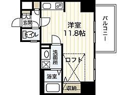 JR山陽本線 広島駅 徒歩9分の賃貸マンション 8階ワンルームの間取り