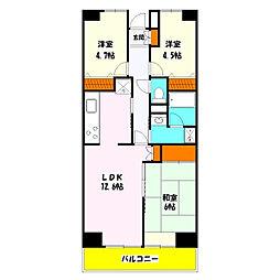 プロスペール谷塚 壱番館[9階]の間取り
