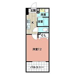 LE GRAND BLEU HAKATA 2階1Kの間取り