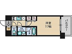 スプランディッド三国I 8階1Kの間取り