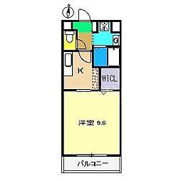 メゾン・ド・キャラバン 3階1Kの間取り