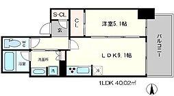 ブランズタワー・ウェリス心斎橋SOUTH 4階1LDKの間取り