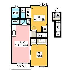 ケーハウスA[2階]の間取り