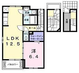 JR山陽本線 庭瀬駅 徒歩3分の賃貸アパート 3階1LDKの間取り