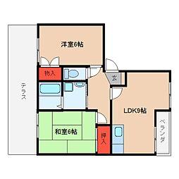 近鉄大阪線 桜井駅 徒歩15分の賃貸アパート 1階2LDKの間取り