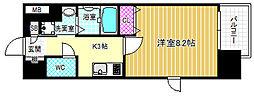 ディクス梅田東レジデンス 9階1Kの間取り