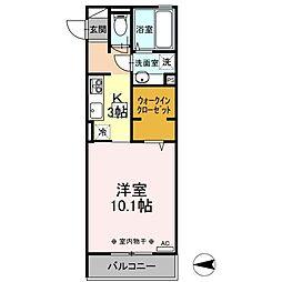 北総鉄道 新柴又駅 徒歩8分の賃貸アパート 1階1Kの間取り
