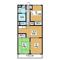 ア・ドリーム松田[3階]の間取り