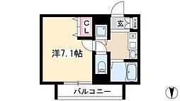 プレサンス覚王山D-StyleII 6階1Kの間取り