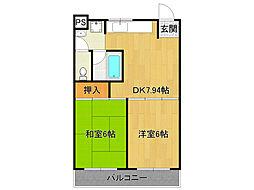 兵庫県尼崎市南武庫之荘8丁目の賃貸マンションの間取り