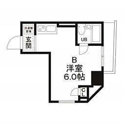 都営浅草線 宝町駅 徒歩2分の賃貸マンション 4階ワンルームの間取り