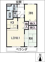 ノースフェザント[1階]の間取り