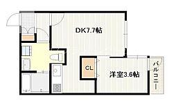 広島電鉄宮島線 高須駅 徒歩6分の賃貸マンション 1階1DKの間取り