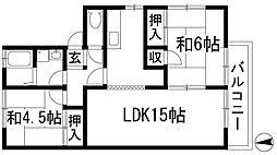 清風ハイツ[2階]の間取り