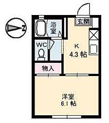 広島県広島市安佐南区西原8丁目の賃貸アパートの間取り