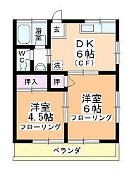 コーポサカエA,B[A203号室]の間取り