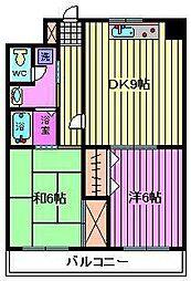 フクロク・ハイ・マンション 2号館[503号室]の間取り