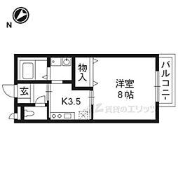 JR湖西線 堅田駅 徒歩10分の賃貸アパート 1階1Kの間取り