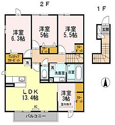 D-room寺塚 弐番館[1階]の間取り