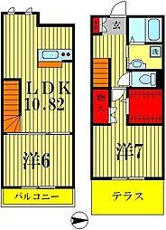 [テラスハウス] 千葉県松戸市新松戸南1丁目 の賃貸【/】の間取り