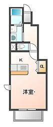 JR赤穂線 西大寺駅 徒歩21分の賃貸アパート 1階1Kの間取り