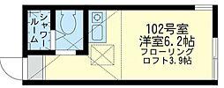 神奈川県横浜市神奈川区大口仲町の賃貸アパートの間取り