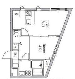 JR中央線 国分寺駅 徒歩8分の賃貸マンション 4階1LDKの間取り