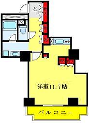 文京グリーンコートビュータワー本駒込B棟 13階1LDKの間取り