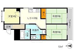 香川花園ハイツ[20D号室]の間取り