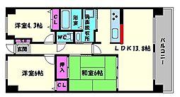アンビエント京橋グランマージュ[8階]の間取り