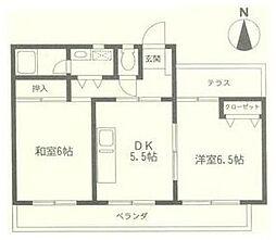フラワーマンション[2階]の間取り
