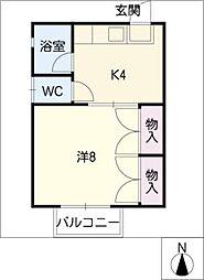 シングル高師コーポ[1階]の間取り