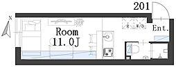 西日暮里レーベル 2階1Kの間取り