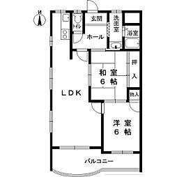 ベルカンポ甲子園 2階2LDKの間取り