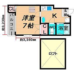 JR片町線(学研都市線) 徳庵駅 徒歩5分の賃貸マンション 5階1Kの間取り