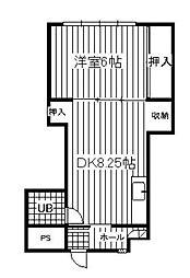 福岡県北九州市小倉北区竪林町の賃貸マンションの間取り
