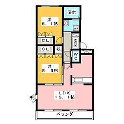 ビアンエトワール[2階]の間取り