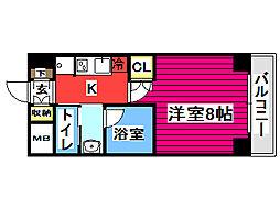 フォレスト・ヒル仙台青葉 2階1Kの間取り